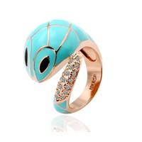 Betico Fashion Altın Kristal Taşlı Sevimli Yılan