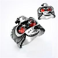 Mina Silver Kartal Ayyıldız Kırmızı Taşlı Gümüş Erkek Yüzük