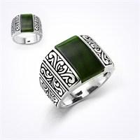 Mina Silver İşlemeli Yeşil Taşlı Sade Gümüş Erkek Yüzük