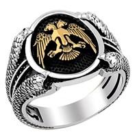 Tesbihevim Selçuklu Kartalı Simgeli Pençeli Gümüş Yüzük