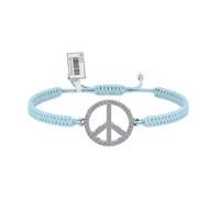 Diamood Jewelry Beyaz Altın Kaplama Gümüş Makrome Örgü Barış Bileklik