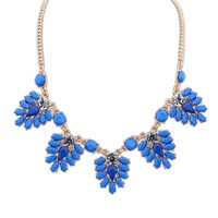 Modalina Koyu Mavi Çiçek Kolye