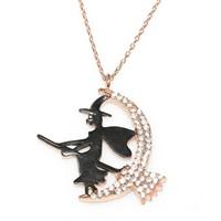 Nusret Takı 925 Ayar Gümüş Süpürgeli Cadı Kolye Pembe - Beyaz Taş Siyah Cadı
