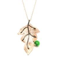 Nusret Takı 925 Ayar Gümüş Yaprak Kolye Pembe Yeşil Yuvarlak Malakit