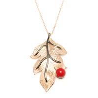 Nusret Takı 925 Ayar Gümüş Yaprak Kolye Pembe - Kırmızı Yuvarlak Mercan