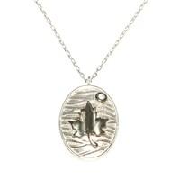 Nusret Takı 925 Ayar Gümüş Desenli Yaprak Kolye Beyaz Siyah - Beyaz Taş