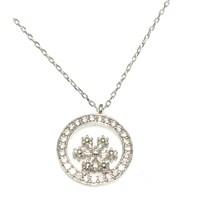 Nusret Takı 925 Ayar Gümüş Çemberli Minik Kar Tanesi Kolye Beyaz - Beyaz Taş