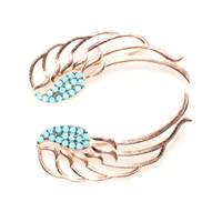Nusret Takı 925 Ayar Gümüş Turkuaz Taşlı Melek Kanadı Modeli Ear Cuff Küpe