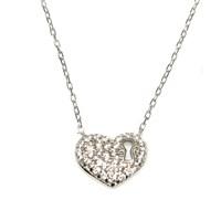 Nusret Takı 925 Ayar Gümüş Kalp Anahtar Deliği Beyaz - Beyaz Taş