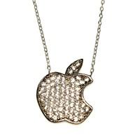 Nusret Takı 925 Ayar Gümüş Apple Kolye Beyaz Siyah - Beyaz Taş