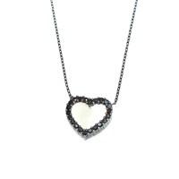 Nusret Takı 925 Ayar Gümüş Sedef Taşlı Kalp Kolye Siyah