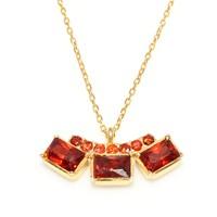 Nusret Takı 925 Ayar Gümüş 3 Taşlı Kolye Sarı- Ateş Kırmızı Taş