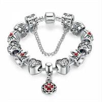 Angemiel Kalp Çanta Taç Aşk Gümüş Charm Bileklik