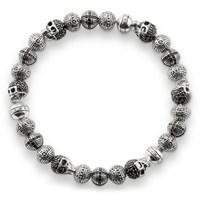 Modakedi Gümüş Kurukafa Özel Tasarım Erkek Kadın Bileklik