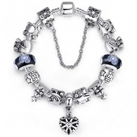 Siyah Muranolu Kalpli Gümüş Charmlı Kadın Bileklik