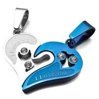 Modakedi Titanyum Mavi Gri Çift Kalp Sevgili Kadın Kolye