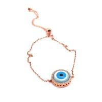 İndigo Takı Yuvarlak Nazar Göz Gümüş Bileklik