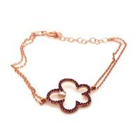 İndigo Takı Ruby Taş Çiçek Gümüş Bileklik
