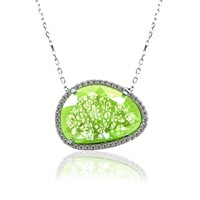 İndigo Takı Yeşil Sedef Taşlı Oval Gümüş Kolye