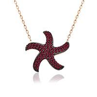 İndigo Takı Ruby Taş Deniz Yıldızı Gümüş Kolye