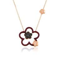 İndigo Takı Ruby Taş Kişiye Özel Harfli Çiçek Gümüş Kolye