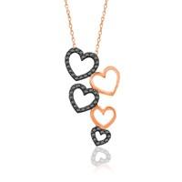 İndigo Takı Beşli Kalp Gümüş Kolye
