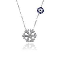 İndigo Takı Nazarlı Gümüş Kar Tanesi Kolye