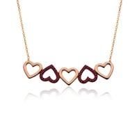 İndigo Takı Ruby Taşlı Beşli Kalp Gümüş Kolye