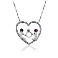 İndigo Takı Kalp İçinde Yüzük Tutan Sevgililer Gümüş Kolye