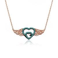 İndigo Takı Turkuaz Taş Kalp Desenli Melek Kanadı Gümüş Kolye