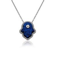 İndigo Takı Mavi Sedef Taşlı Fatma Ana Eli Gümüş Kolye