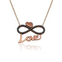 İndigo Takı Love Yazılı Kalpli Sonsuzluk Aşk Gümüş Kolye