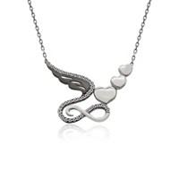 İndigo Takı Melek Kanadı Sonsuzluk Kalpler Gümüş Kolye