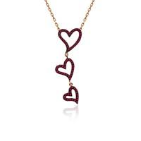İndigo Takı Ruby Taş Sallanan Üçlü Kalp Gümüş Kolye