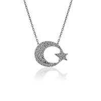 İndigo Takı Beyaz Ay Yıldız Gümüş Kolye