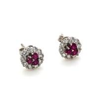 İndigo Takı Üçlü Ruby Taş Yuvarlak Gümüş Küpe