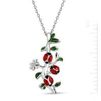 Bella Gloria Gümüş Mineli Uğurlu Çiçek Dalı Kolye (GMK0020)
