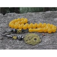 Tesbihevim Sarı Renk Sıkma Kehribar Tesbih 1000 Ayar Gümüş Kazaz Püsküllü