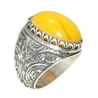 Nusret Takı 925 Ayar Gümüş Oval Kehribar Taşlı El Kalemli Erkek Yüzük