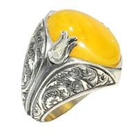 Nusret Takı 925 Ayar Gümüş Oval Kehribar Taşlı El Kalemli Lale Desenli Erkek Yüzük