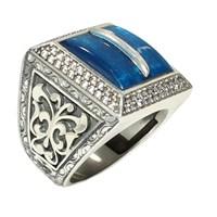 Nusret Takı 925 Ayar Gümüş Mavi Mineli Elif Harfli El Kalemli Zirkon Taşlı Yüzük
