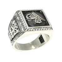 Nusret Takı 925 Ayar Gümüş Tuğra Kabartmalı El Kalemli Erkek Yüzük