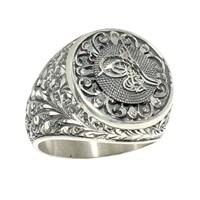 Nusret Takı 925 Ayar Gümüş Tuğralı Kabartmalı Yuvarlak El Kalemli Erkek Yüzük