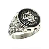 Nusret Takı 925 Ayar Gümüş Osmanlı Tuğralı Yuvarlak El Kalemli Erkek Yüzük