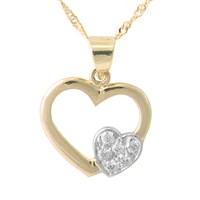 AltınSepeti İkili Altın Kalp Kolye AS164KL