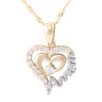 AltınSepeti Annem Yazılı Altın Kalp Kolye AS166KL