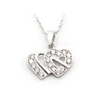 AltınSepeti Beyaz Altın İkili Kalp Kolye AS65KL