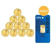 10 Adet Ata Lira Eski Altın Paketi - 0,50 Gr Külçe Altın Hediye