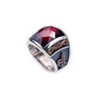 Tekbir Silver 925 Ayar Gümüş Tuğra-Ayyıldızlı Yüzük   Mrg58051009