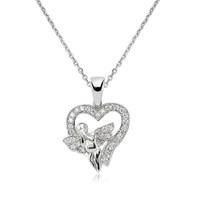 Bayan Lili Gümüş Kalbimin Meleği Kolye